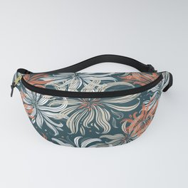 Stylized aster flowers Fanny Pack