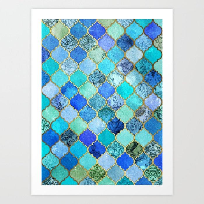 Cobalt Blue, Aqua & Gold Decorative Moroccan Tile Pattern Art ...