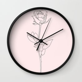 single black and blush pink rose line art Wall Clock