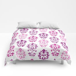 Heart Damask Art I Pinks Plums White Comforters