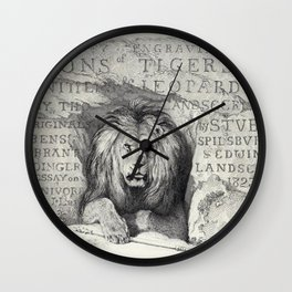 Vintage Lion etching Wall Clock