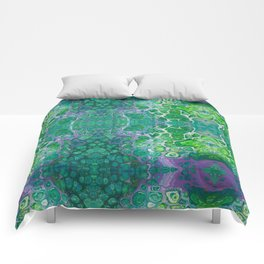 Green marble painting Comforters