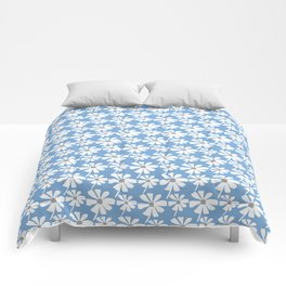 Daisies In The Summer Breeze - Blue Grey White Comforters