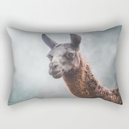 Curious, wise looking guanaco / llama on a misty morning in the Andes mountains, Peru Rectangular Pillow