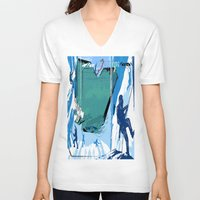 climbing V-neck T-shirts featuring Ice Climbing by Robin Curtiss