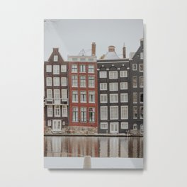 """Amsterdam Canal houses at the snow   Fine art photo print of the """"Amsterdam during winter"""" series Metal Print"""