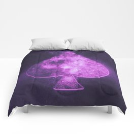 Spade symbol. Playing card. Abstract night sky background Comforters