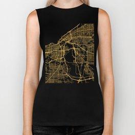 CLEVELAND OHIO CITY STREET MAP ART Biker Tank