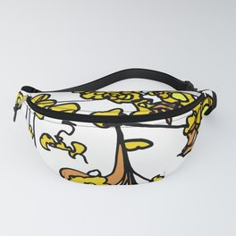 Golden Petals on Branches Fanny Pack