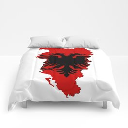 Albania Map with Albanian Flag Comforters