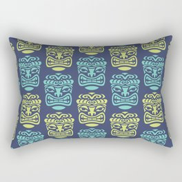 Tiki Pattern Blue & Chartreuse Rectangular Pillow
