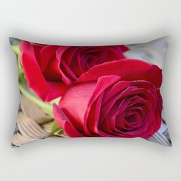 Two Elegant Red Roses on Rattan Table Rectangular Pillow
