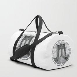 Brooklyn Bridge New York City (black & white with text) Duffle Bag