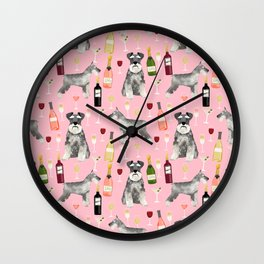 Schnauzer wine champagne cocktails rose dog breed pattern Wall Clock