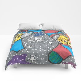 Mac & Cheese in space Comforters