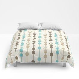 Retro Aqua and Brown Circled Stripes Comforters