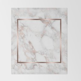 Luxury Rose-gold Faux Marble Throw Blanket