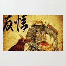 The old samurai and his faithful friendly the crow Rug