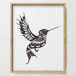 Pacific Northwest Hummingbird coastal formline art colibri Serving Tray