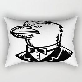 Kookaburra Wearing Tuxedo Woodcut Black and White Rectangular Pillow