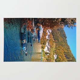 Boats in the harbour | waterscape photography Rug