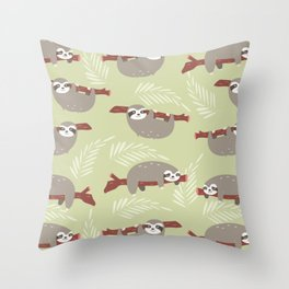 Funny sloth pattern Throw Pillow