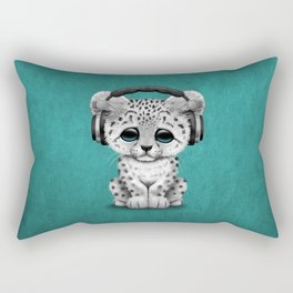 Cute Snow leopard Cub Dj Wearing Headphones on Blue Rectangular Pillow