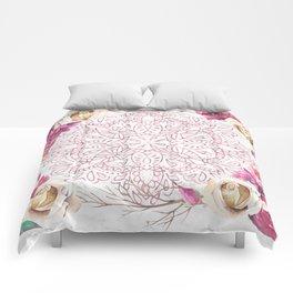 Rose Gold Mandala Garden on Marble Comforters