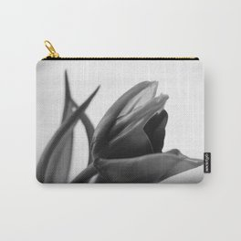 Tulip Blooming In Black And White Carry-All Pouch