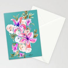 Summer Lily Flora - Turq Stationery Cards