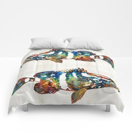 Colorful Grouper 2 Art Fish by Sharon Cummings Comforters