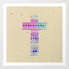 Pink Purple Aztec Pattern Cross Watercolor Paint Art Print