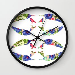 Feather & Bird - Pop Floral Wall Clock