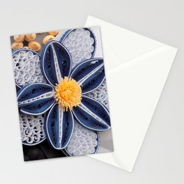 Blue Paper Quilled Flowers Floral Home Decoration Abstract Still Nature Art Stationery Cards