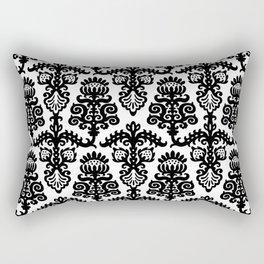 Floral Pattern Black & White Rectangular Pillow