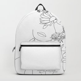 Minimal Line Art Woman with Flowers III Backpack