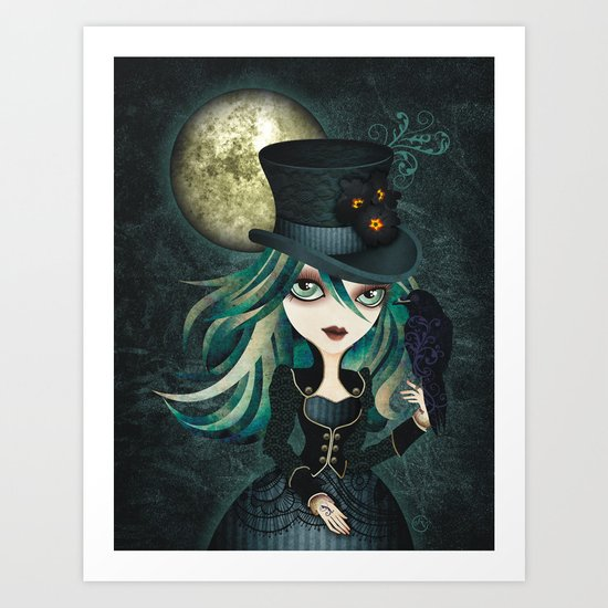 Raven's Moon Art Print