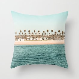 Vintage Newport Beach Print {1 of 4}   Photography Ocean Palm Trees Teal Tropical Summer Sky Throw Pillow