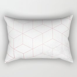 Rose Gold Geometric White Mable Cubes Rectangular Pillow