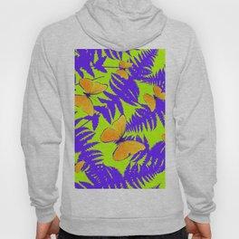 Golden Butterflies Purple Fern Fronds Chartreuse Color Art Hoody
