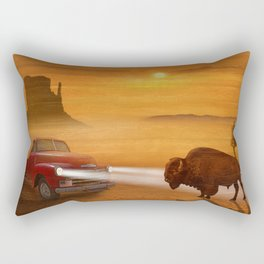 Meeting in the sunset on Route 66 Rectangular Pillow