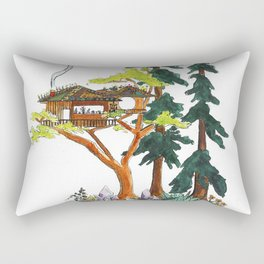 Forest Tree House - Woodland Potted Plant Rectangular Pillow