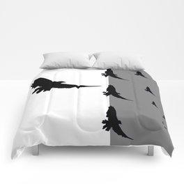 FLYING BLACK CROWS GREY-BLACK ART Comforters