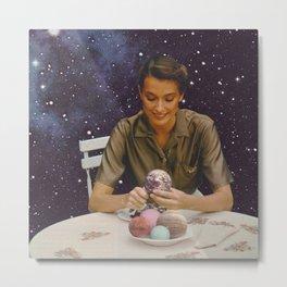 Woman peeling the Earth - Bon Appetit - Collage  Metal Print