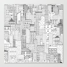 City Doodle (white) Canvas Print