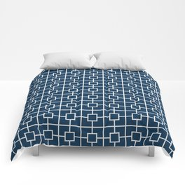 Prussian Blue Square Chain Pattern Comforters