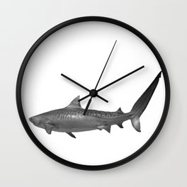 Tiger Shark, Black & White Wall Clock