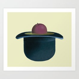A single plum floating in perfume served in a man's hat. Art Print