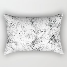 lily sketch black and white pattern Rectangular Pillow