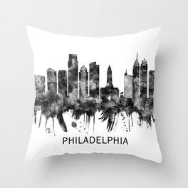 Philadelphia Pennsylvania Skyline BW Throw Pillow